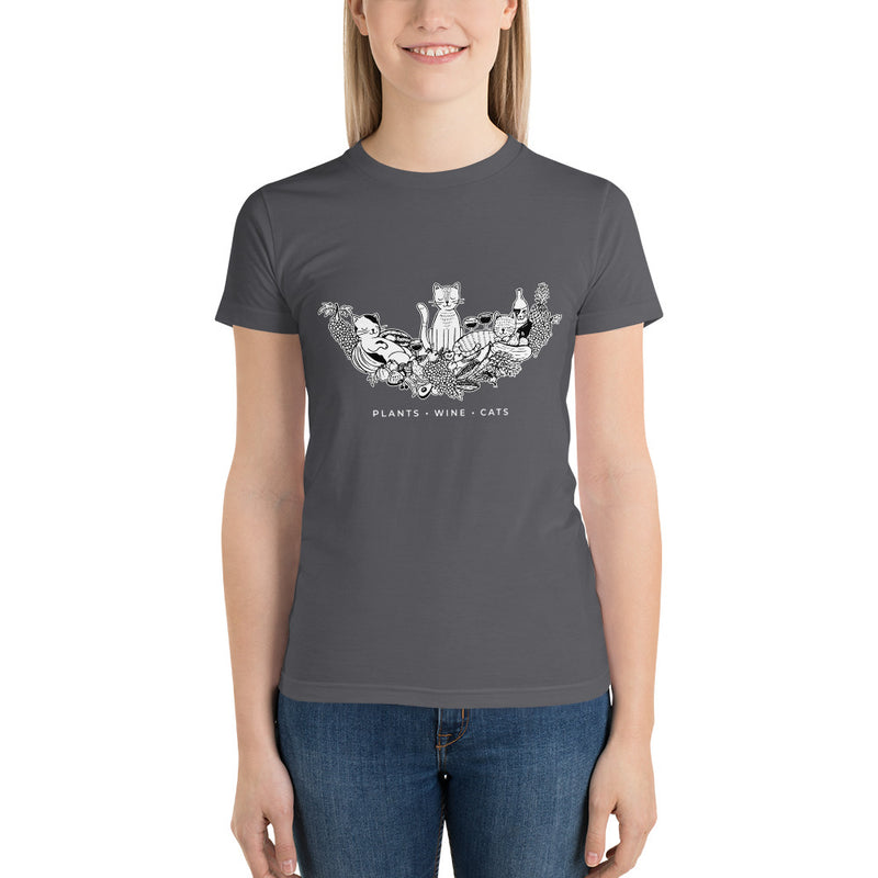 Plants, Wine, Cats Short Sleeve Women's T-Shirt by Grape Cat Vegan Clothing Brand