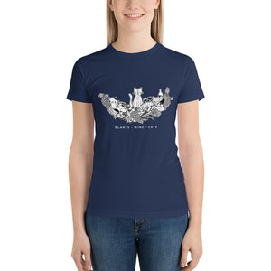 Plants, Wine, Cats Short Sleeve Women's T-Shirt - Grape Cat