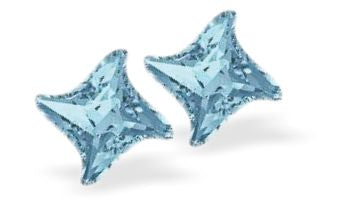Swarovski Crystal Star Twist Stud Earrings in sparkly Aquamarine Blue