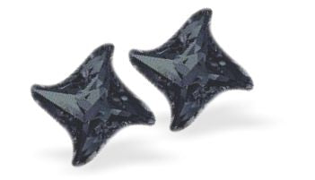 Swarovski Crystal Star Twist Stud Earrings in Dramatic Graphite Black
