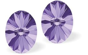 Swarovski Crystal Rivoli style Tanzanite Purple Stud Earrings