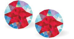 Byzantium Collection Swarovski Crystal Diamond Shaped Chaton Studs in Light Red Siam Shimmer Earings