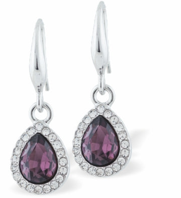 Crystal Encrusted Sparkling Peardrop Drop Earrings, Amethyst Colour Setting, Rhodium Plated