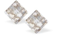 Byzantium Collection Swarovski Crystal Chessboard Studs Silver Patina Earings