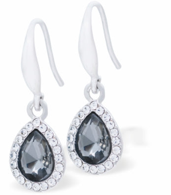 Crystal Encrusted Sparkling Peardrop Drop Earrings, Black Diamond Colour Setting, Rhodium Plated