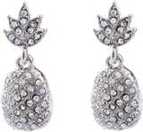 Crystal Encrusted Pineapple Stud/Drop Earrings, Rhodium Plated