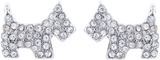 Crystal Scottie Dog Stud Earrings, Rhodium Plated