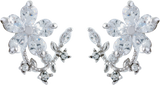 Crystal Encrusted Mini Bouquet Floral Stud Earrings, Rhodium Plated