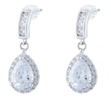 Crystal Framed Teardrop Stud/Drop Earrings, Rhodium Plated