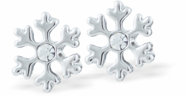 Crystal Encrusted Sparkling Snowflake Stud Earrings, Rhodium Plated