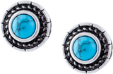 Turquoise Centred Circular Stud Earrings, Rhodium Plated