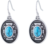 Turquoise Centred Antique Oval Drop Earrings, Rhodium Plated