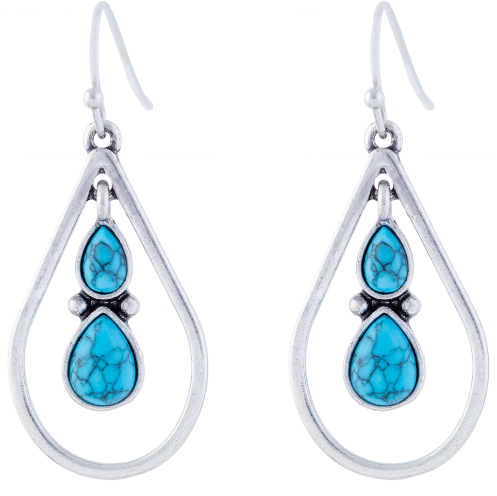 Turquoise Centred Double Drop Teardrop Earrings, Rhodium Plated