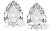 Byzantium Collection Swarovski Crystal Pear Shaped Studs in clear Crystal Earings
