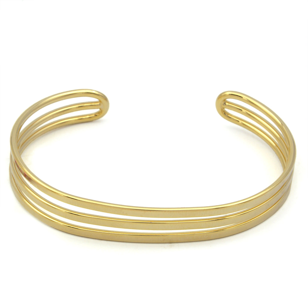 24ct Gold Plated Bangle Triple Bracelet