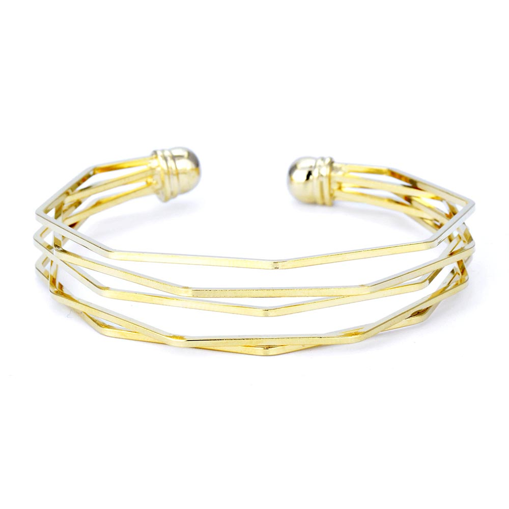 24ct Gold Plated Bangle Triple Ornate Design Bracelet