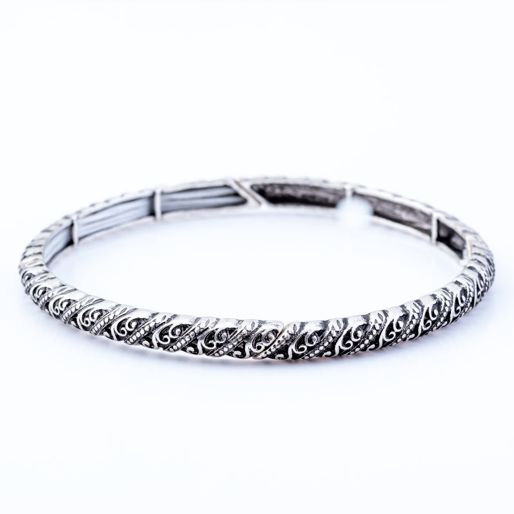 Stretch Antique Style Bracelet with Twist, Rhodium Plated