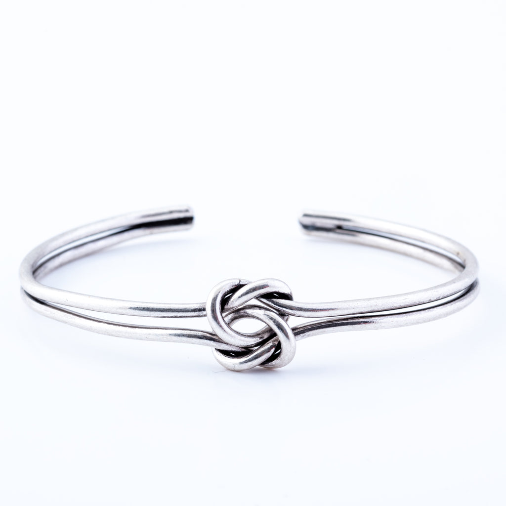 Bowline Knotted Bracelet with opening, Rhodium Plated