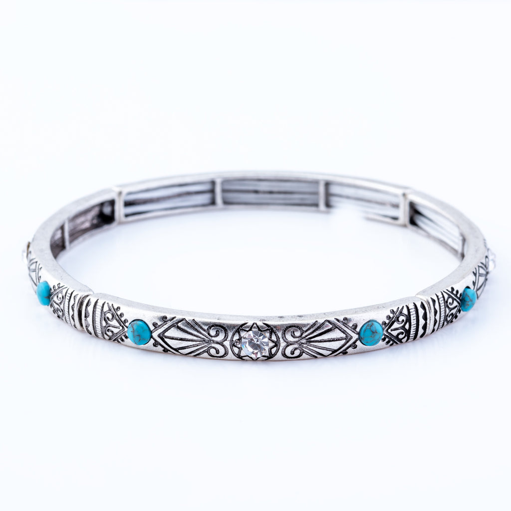 Turquoise & Crystal Ornate Stretch Bracelet, Rhodium Plated