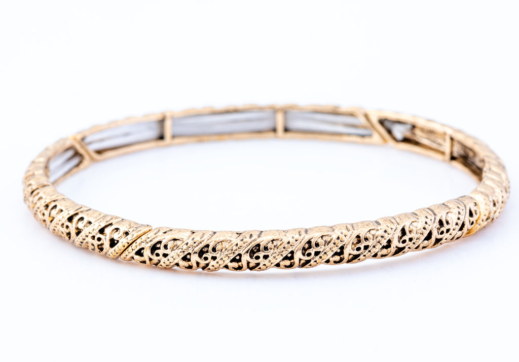 Ornate Twisted Stretch Bracelet, Gold Plated
