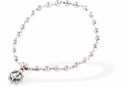 Stretch, Beaded, Slip On Bracelet, Rhodium Plated with Pretty Flower Charm