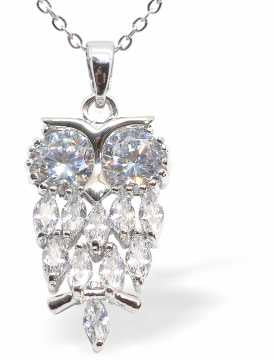 Crystal Encrusted True Owl Necklace with Choice of Chain