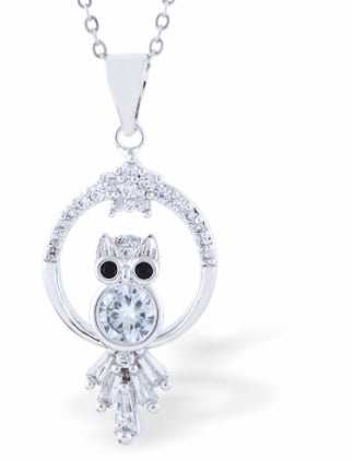 Crystal Encrusted Sparkling Cute Owl Necklace