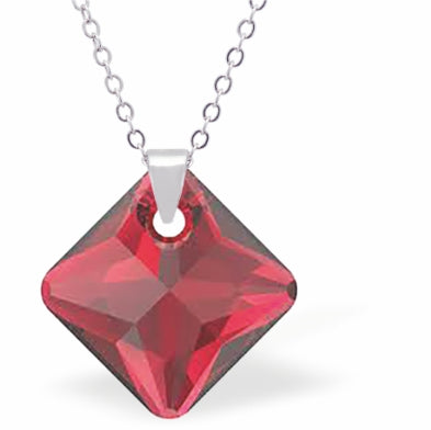 Swarovski Crystal Square Shaped, Sparkling Princess Necklace, in Rich Scarlet Red