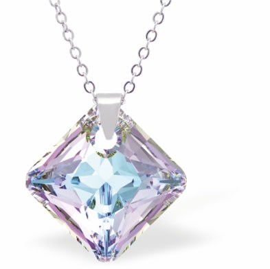 Swarovski Crystal Square Shaped, Sparkling Princess Necklace, in Exotic Vitrail Light