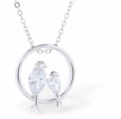 Classic Crystal Encrusted Love Birds Necklace