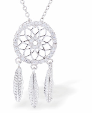 Classic Crystal Encrusted Dream Catcher Necklace