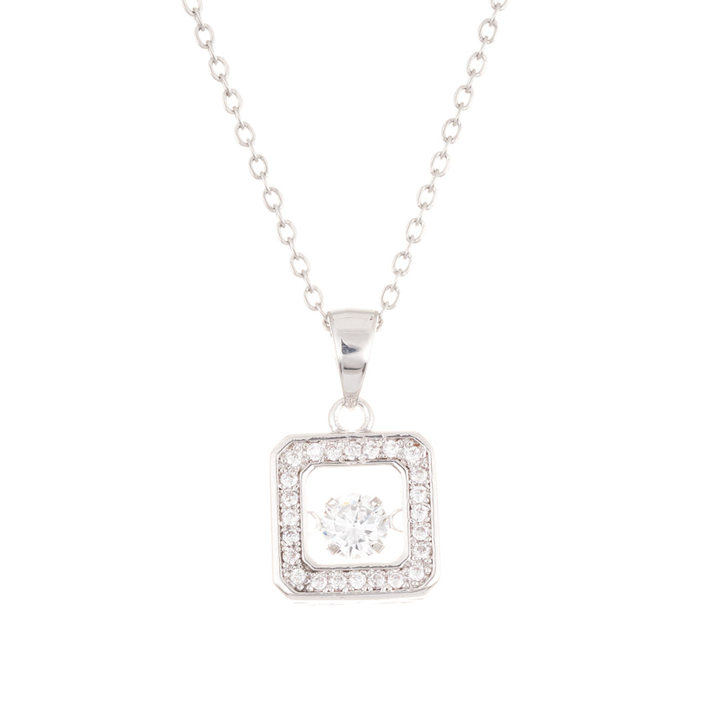 Crystal Encrusted Square Dancing Stone Necklace