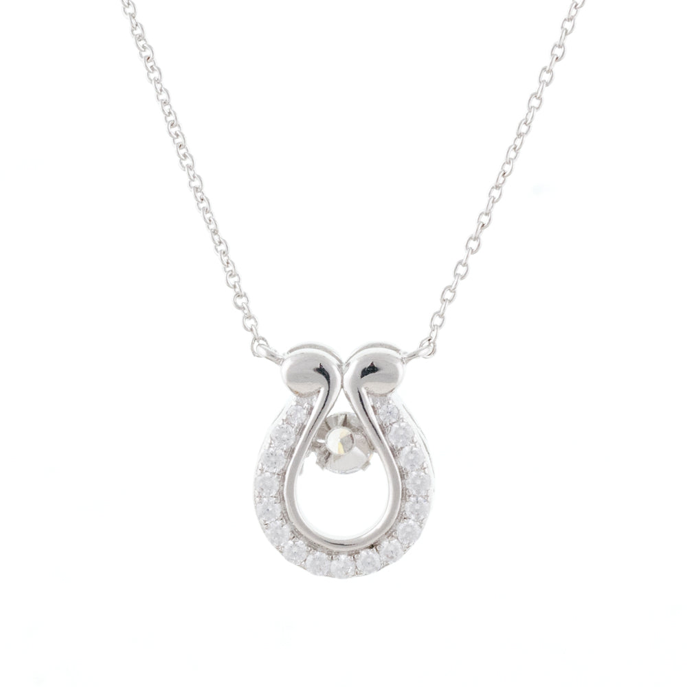 Crystal Encrusted Lucky Horse Shoe Dancing Stone Necklace
