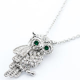 Crystal Encrusted Tawny Owl Necklace