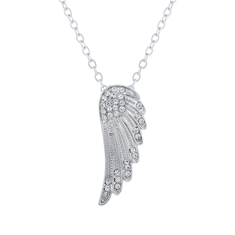 Crystal Encrusted Angel's Wing Necklace