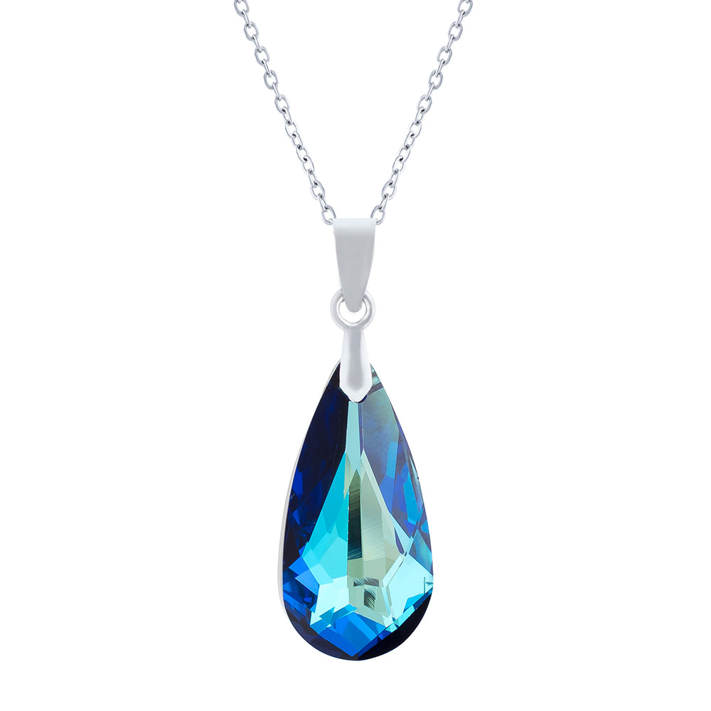 Swarovski Crystal Pendant Necklace in Bermuda Blue