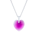 Swarovski Crystal Heart Necklace in Rose Pink