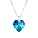 Swarovski Crystal Heart Necklace in Bermuda Blue