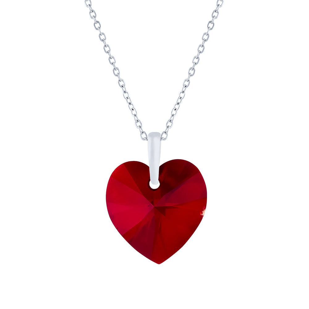 Swarovski Crystal Heart Necklace in Siam Red