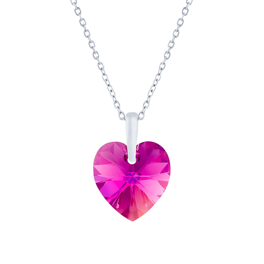 Swarovski Crystal Heart Necklace in Fuchsia Pink