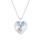 Swarovski Crystal Faceted Heart Necklace in Aurora Borealis