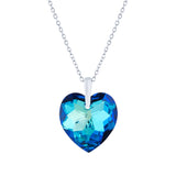 Swarovski Crystal Faceted Heart Necklace in Bermuda Blue