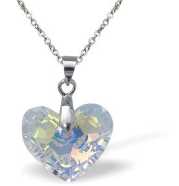 Swarovski Crystal Truly in Love Heart Necklace in reflective Aurore Borealis