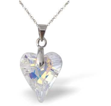 Swarovski Crystal Wild Heart Necklace in Aurora Borealis, Large