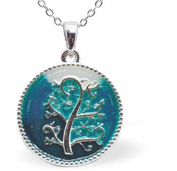 Rich Multi Coloured Enamel on Circular Necklace with Tree of Life Motif