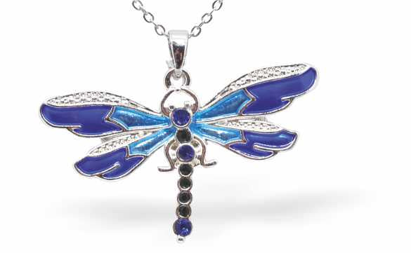Rich Gradation of Purples and Blues Enamelled Dragonfly Necklace