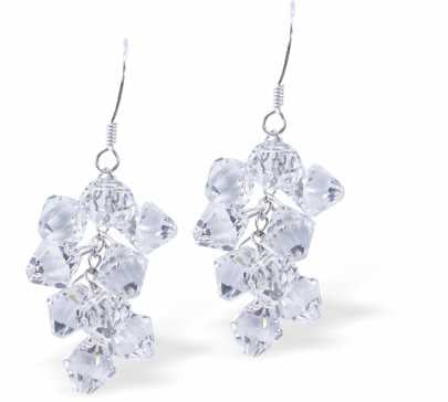 Austrian Crystal Elegant Drop Earrings in Crisp, Clear Bicon Multi-faceted Crystal Design for Sparkle and Glitz.
