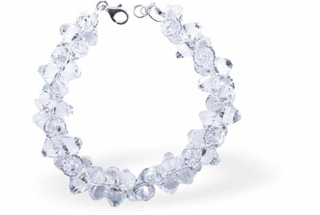 Austrian Crystal Elegant Bracelet in Crisp, Clear Bicon Multi-faceted Crystal Design for Sparkle and Glitz.
