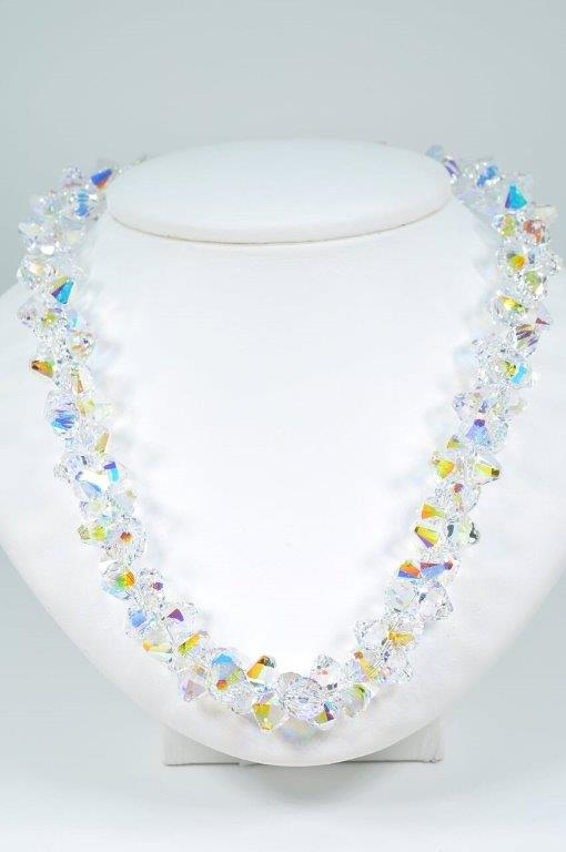 Austrian Crystal Elegant Necklace in Ever Changing Aurora Borealis for Sparkle and Glitter