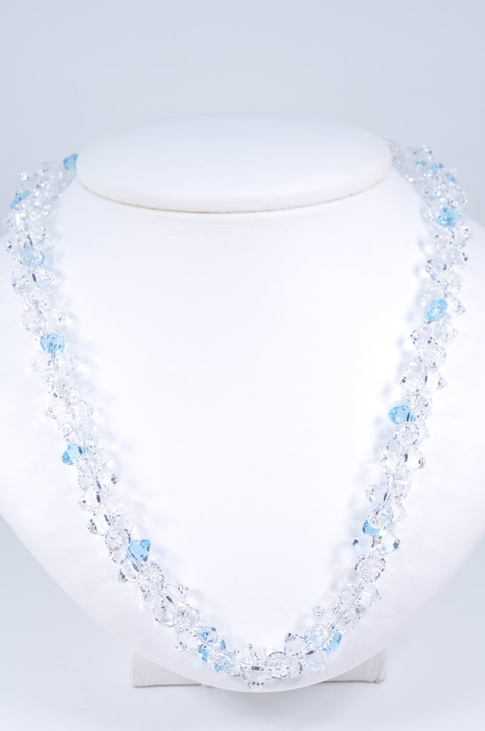 Austrian Crystal Elegant Necklace in Aquamarine Blue and Crisp Clear Crystal for Sparkle and Glitz